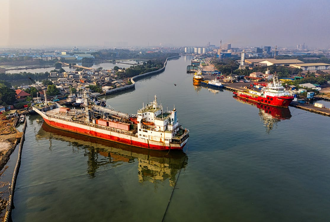Aerial Photo of Cargo Ships on Pier