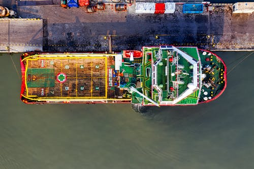 Aerial Shot Of Docked Cargo Ship