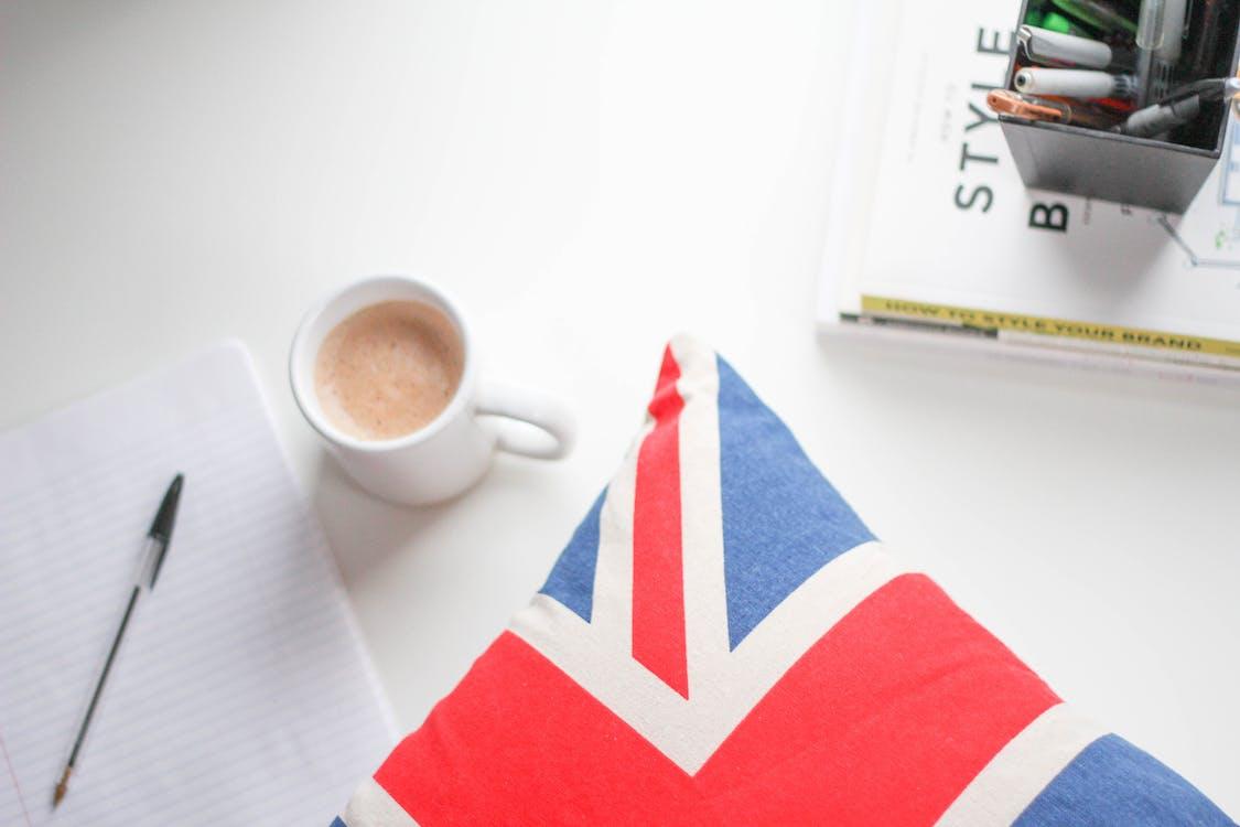 biały, biurko, brytyjski
