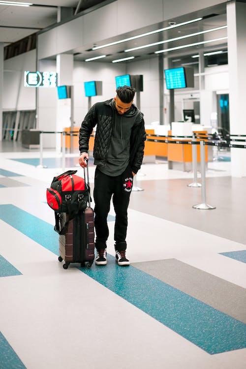 αεροδρόμιο, αναχώρηση, άνδρας