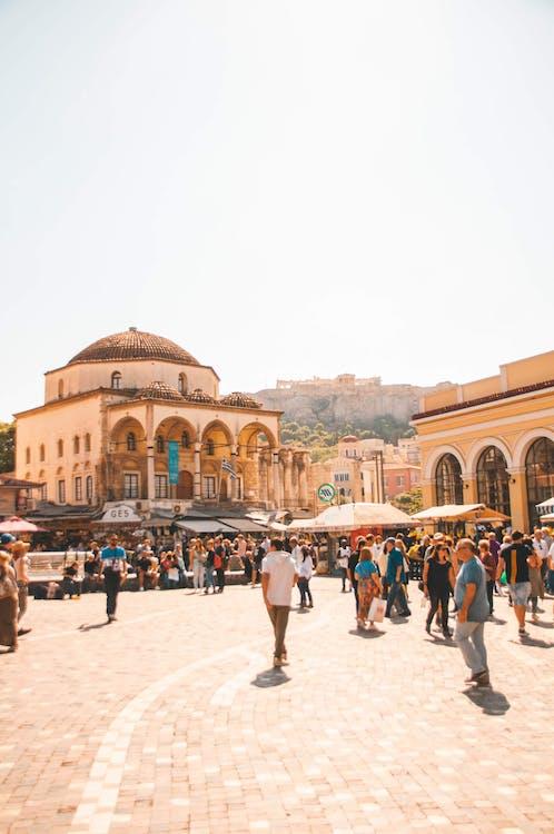 Photo of People Walking on Monastiraki Square