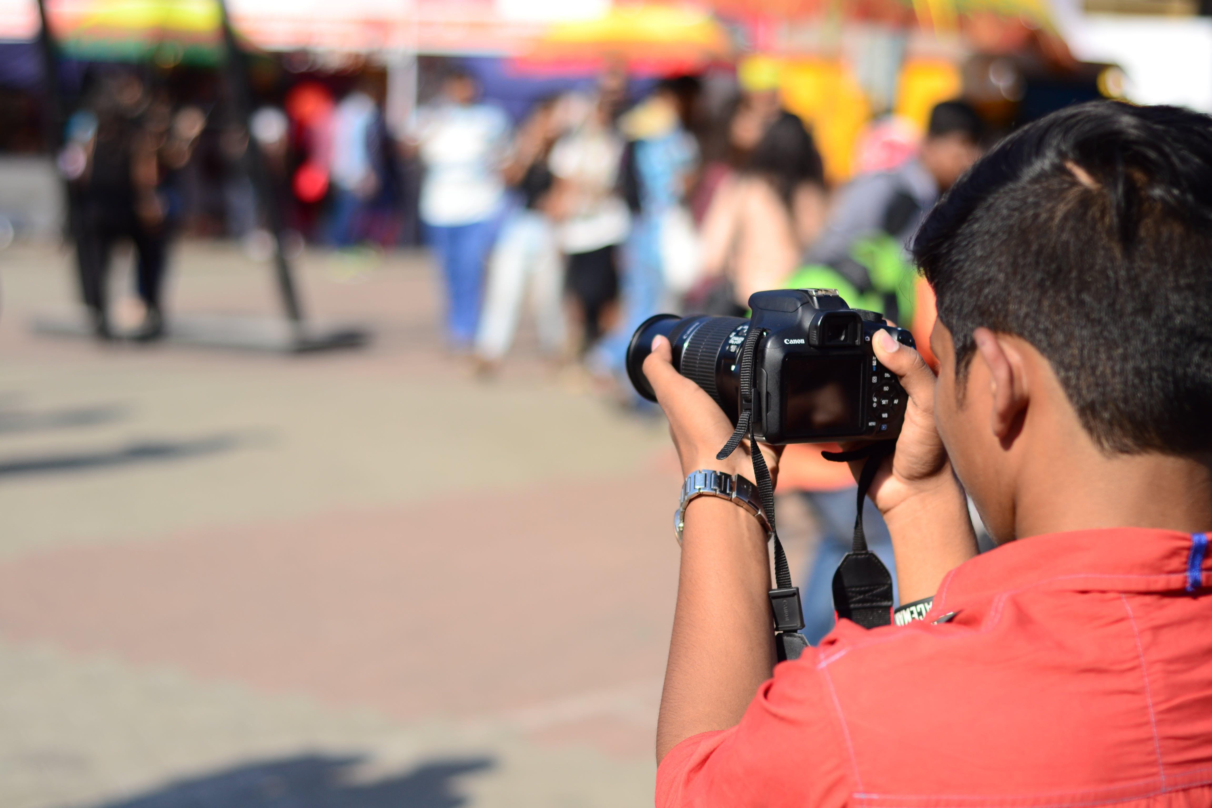 Free stock photo of camera, camera lens, cameraman, photographer