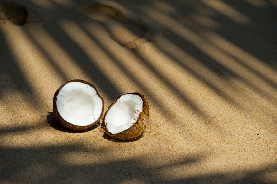 beach, coconut, delicious