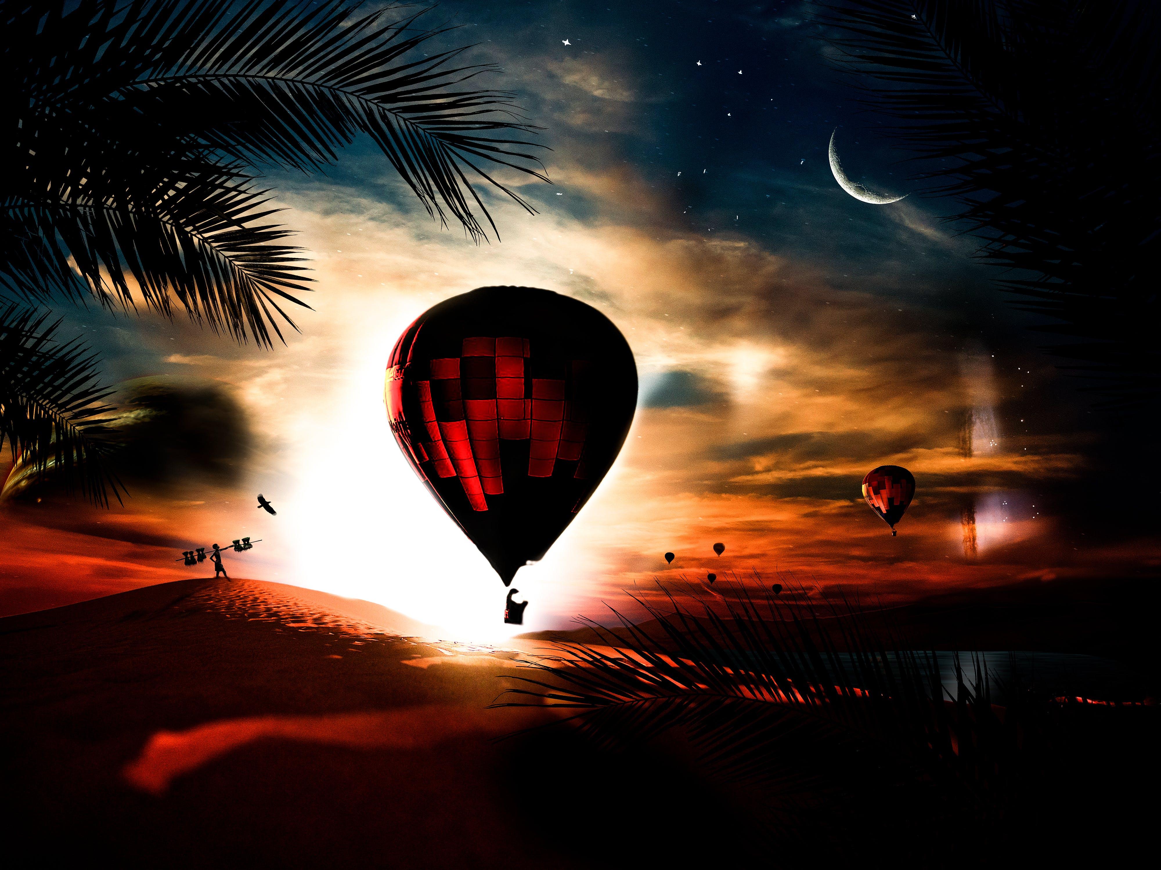 Free stock photo of Adobe Photoshop, balloon, desert, fantasy
