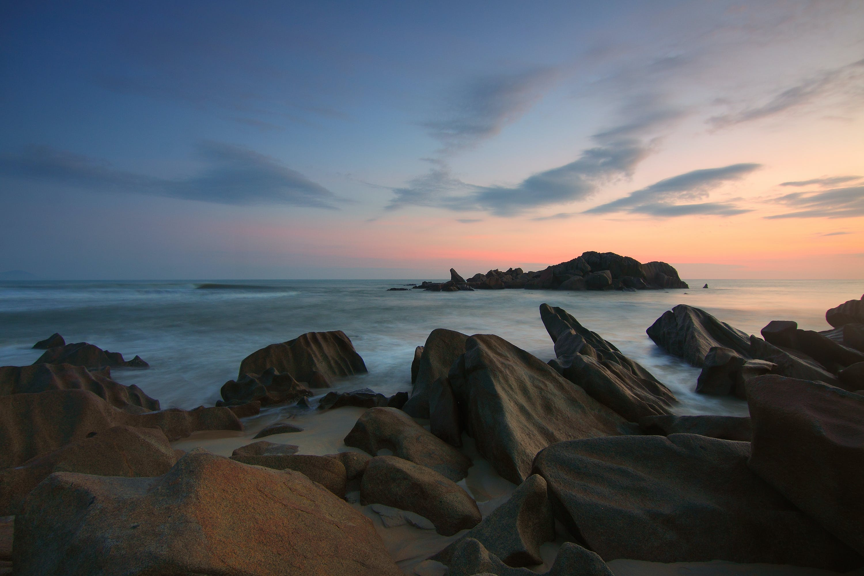 Rocks on Beach at Sunset