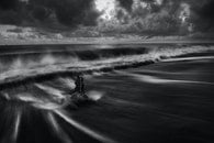 sea, black-and-white, nature