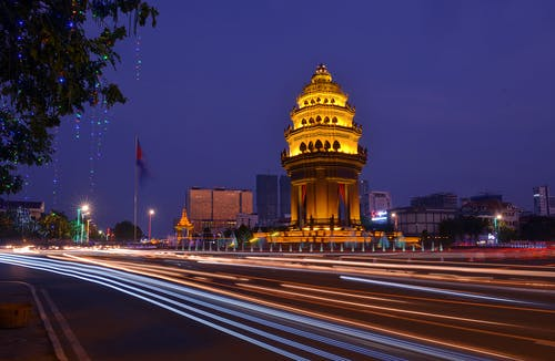 Δωρεάν στοκ φωτογραφιών με phnom penh, time lapse, απόγευμα, ελαφρές ραβδώσεις