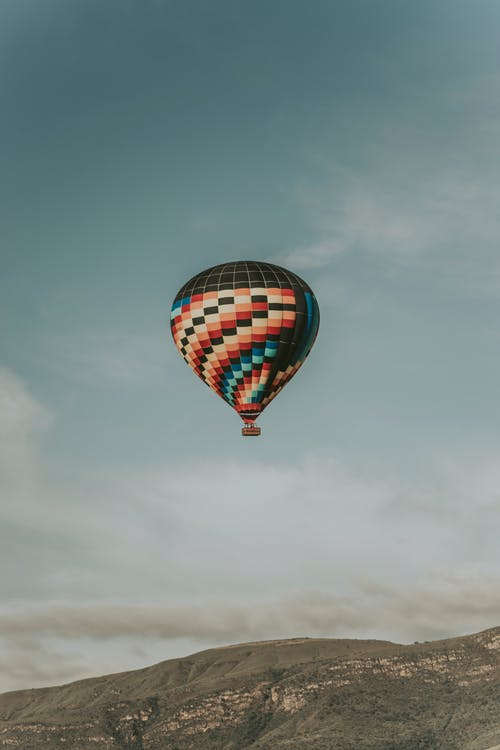 Black and Multicolored Hot-Air Balloon