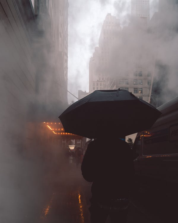 Person Wearing Black Jacket Using Black Umbrella