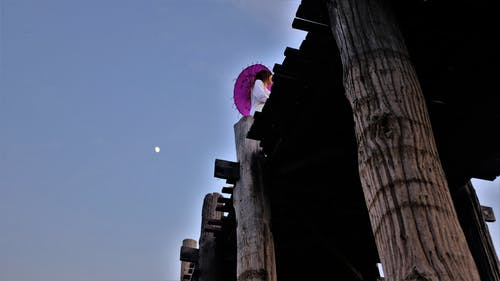 Free stock photo of bridge, burma, burmese, moon