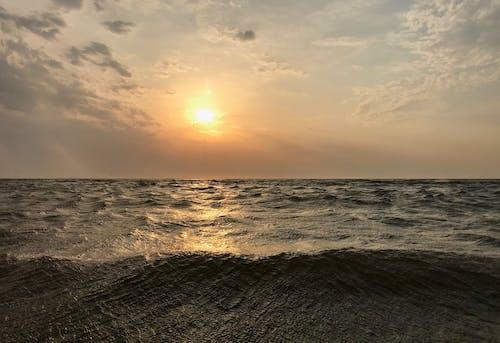 Foto stok gratis awan, gelombang, Jeruk, kuning