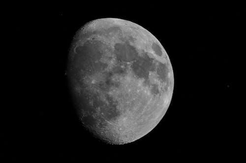 Foto stok gratis bulan, bulan sabit, hitam dan putih, kawah