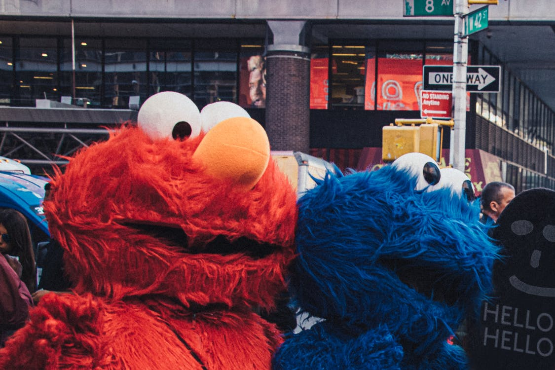 Elmo and Cookie Monster Mascots