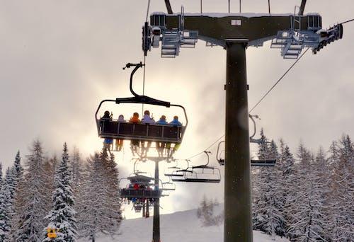 Foto stok gratis bermain ski, gunung, lampu latar, matahari