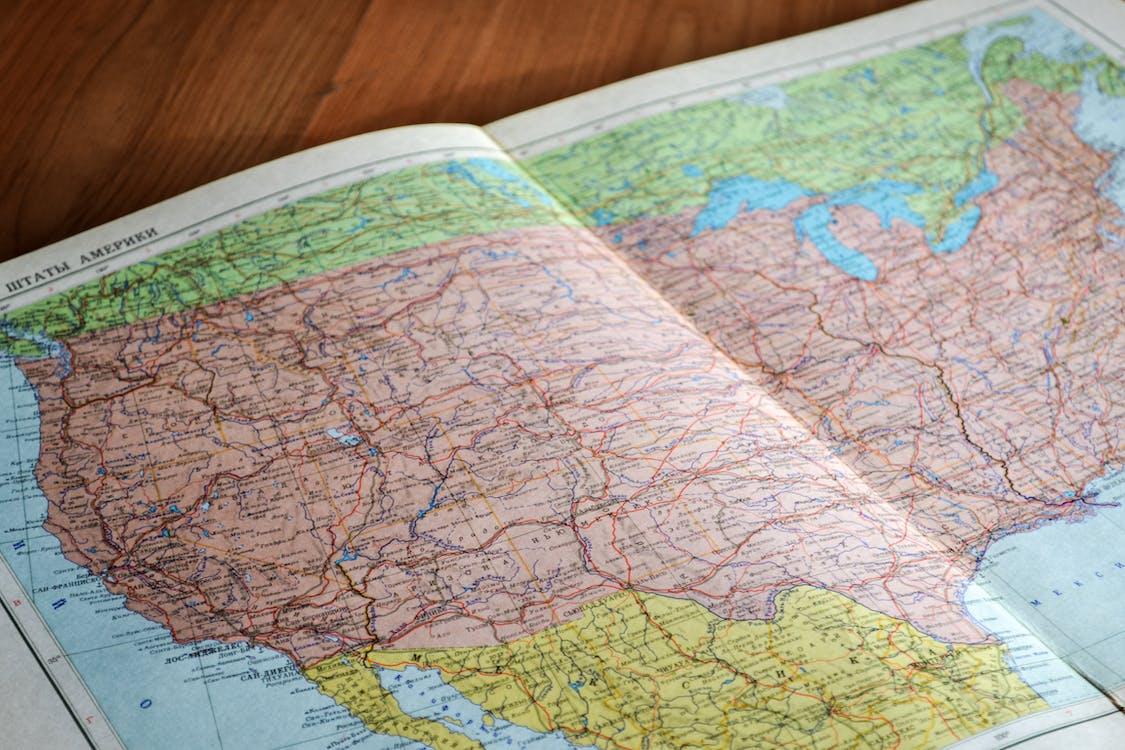 Amerika, geografie, kaart