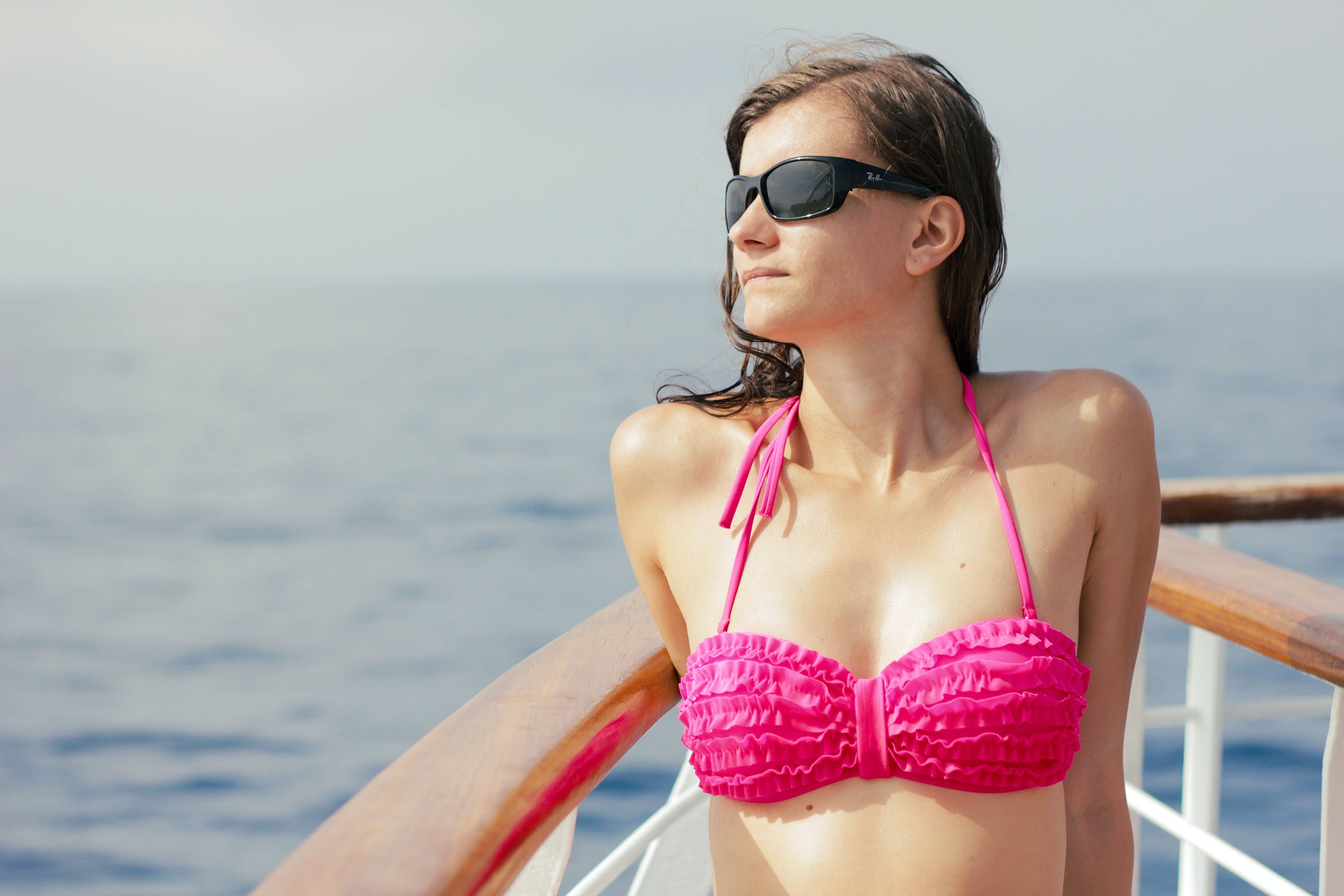 Free stock photo of sea, person, sunglasses, bikini
