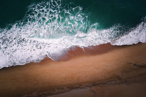 Aerial Photography of Sea Foam
