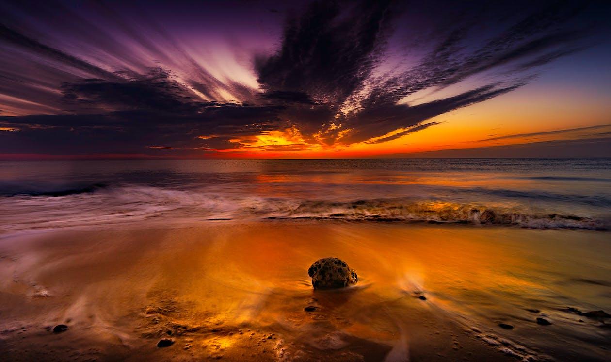 dramatyczny, horyzont, morze
