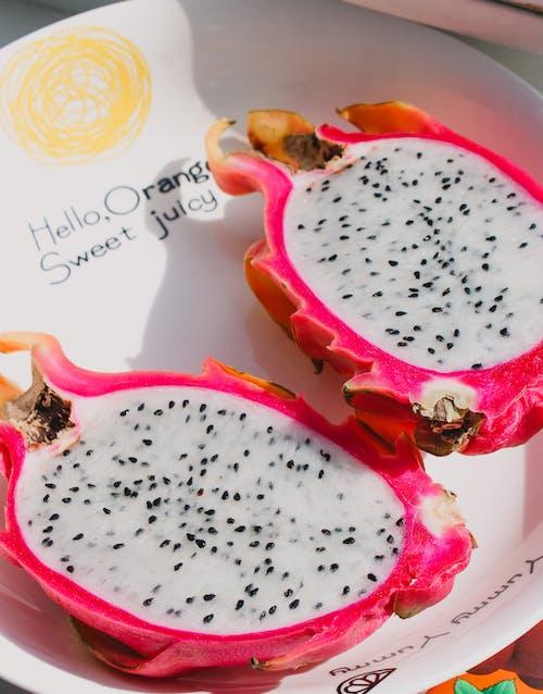 Dragon Fruit In White Ceramic Plate