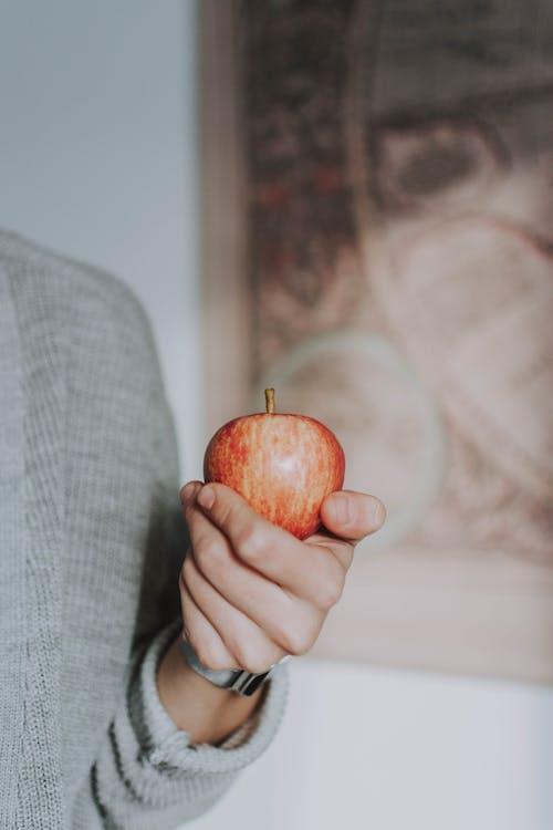 Persoon Die Crimson Apple Fruit Houdt