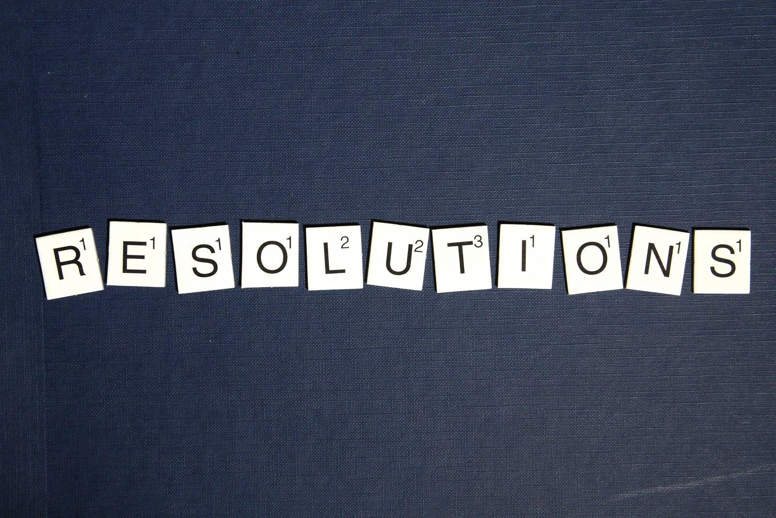 Black and White Scrabble Resolution Illustration