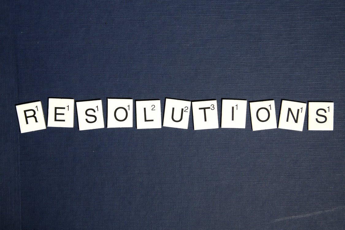 Black and White Scrabble Resolution Illustration