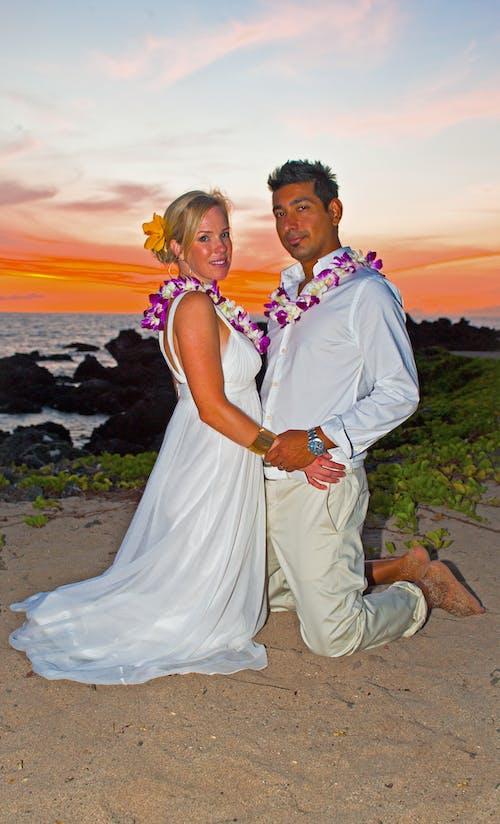 Free stock photo of wedding couple on beach