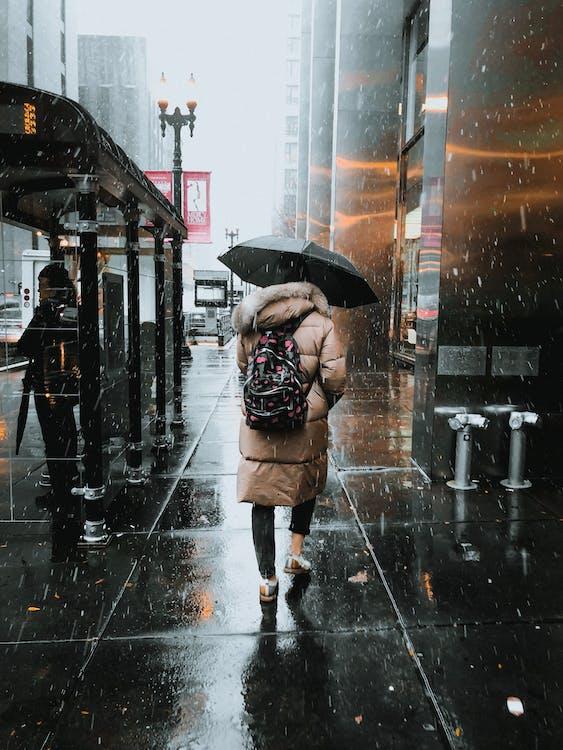 Woman Walking on Street Under Black Umbrella