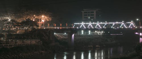 ブリッジ, ランプ, 川, 建物の無料の写真素材