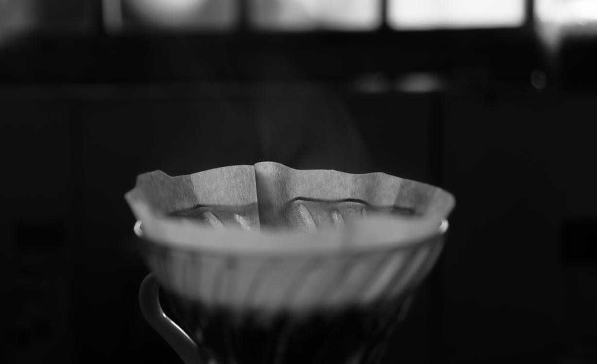 fekete-fehér, főzött kávé, kávé