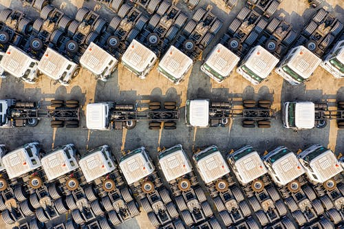 Aerial Photography of Parked Trucks