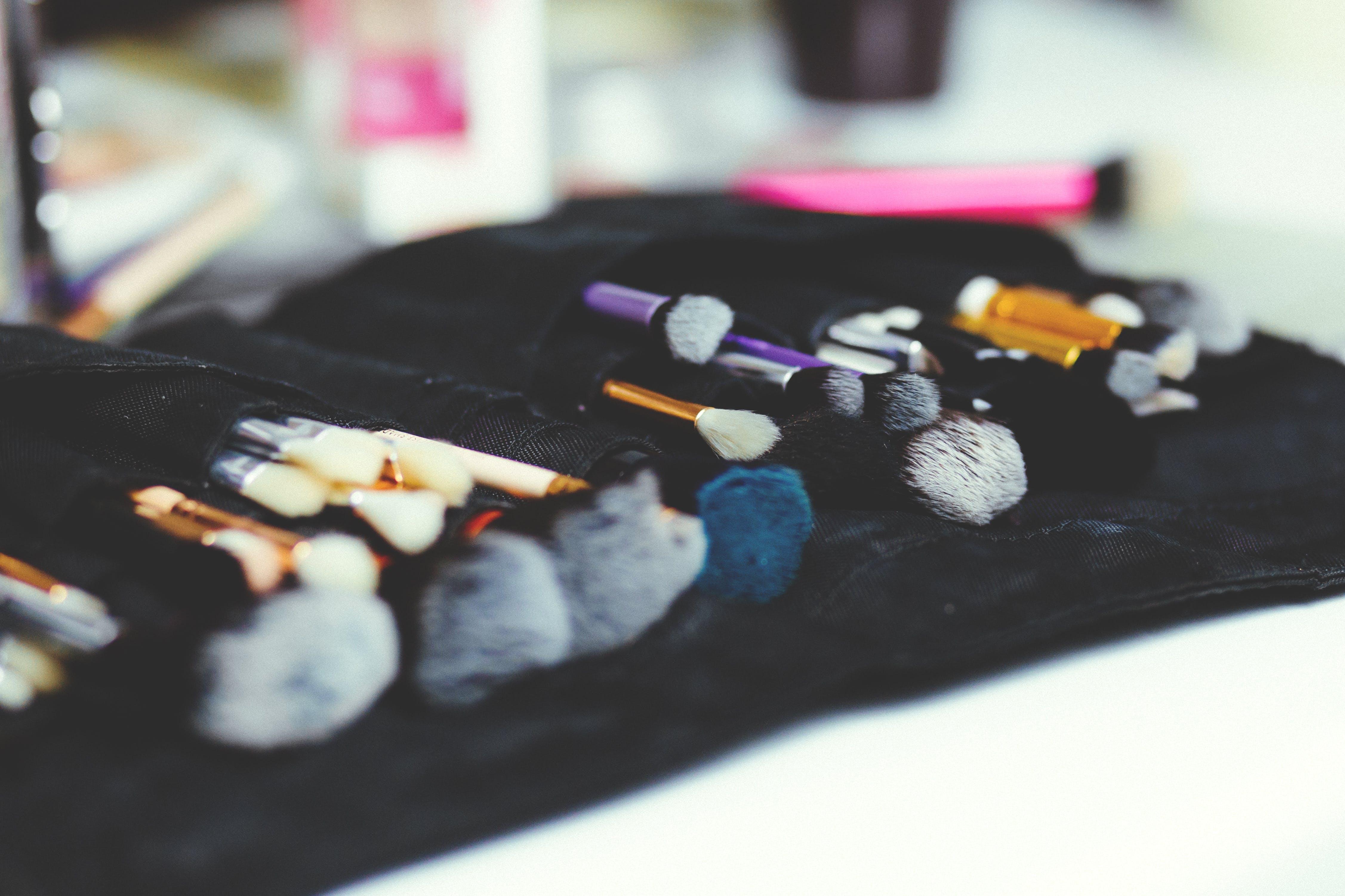 Assorted-color Makeup Brush Set on Black Organizer