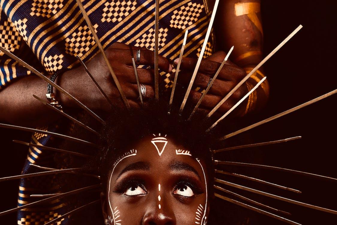 Woman Wearing Stick on Head