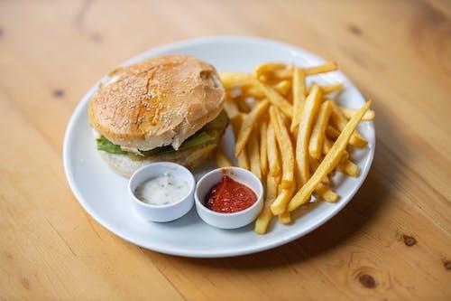 Hamburger and Potato Fries