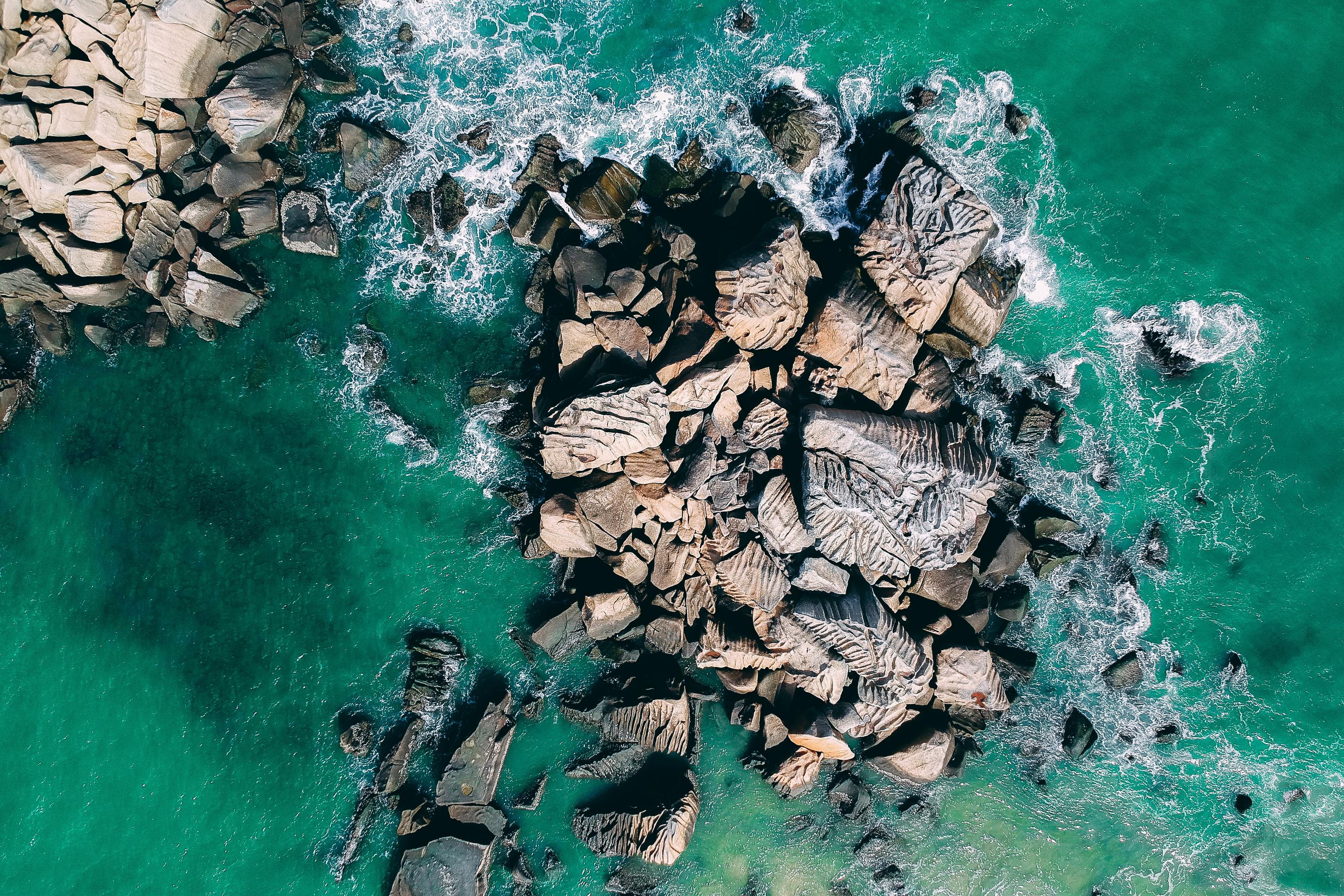 Aerial View of Seashore Rocks