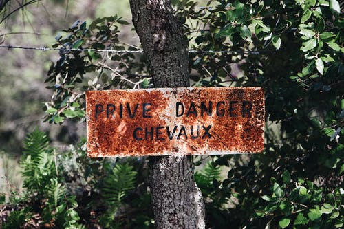 Prive Danger Chevaux Signage
