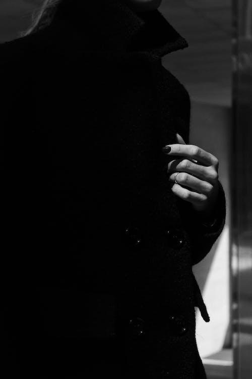 Monochrome of Woman Wears Coat