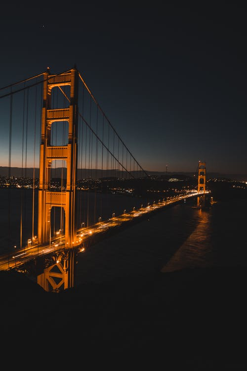 High Angle Shot Of Golden Gate Bridge At Night