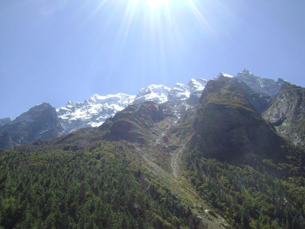 Free stock photo of snow peaked mountains