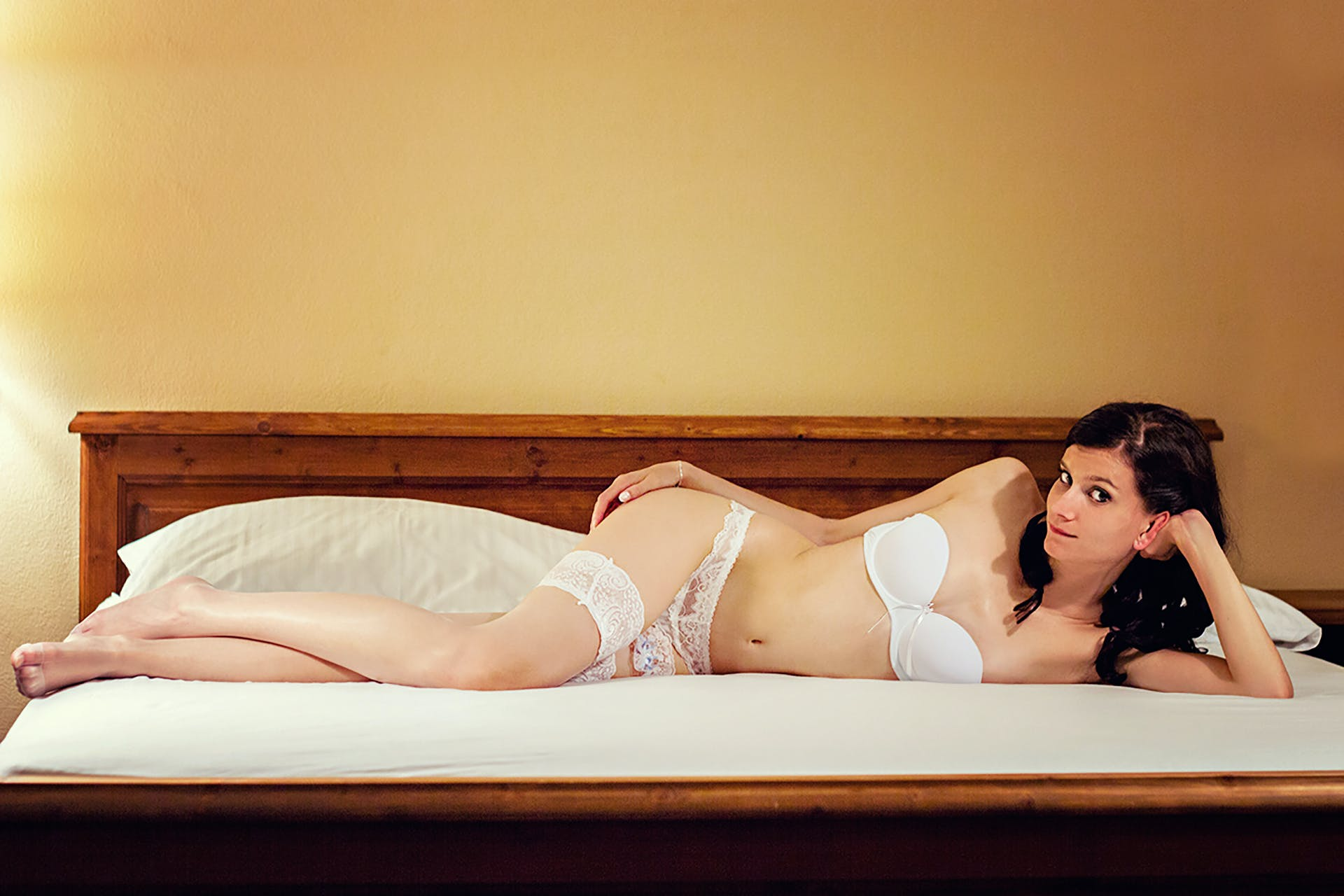 Free stock photo of woman, legs, bed, body