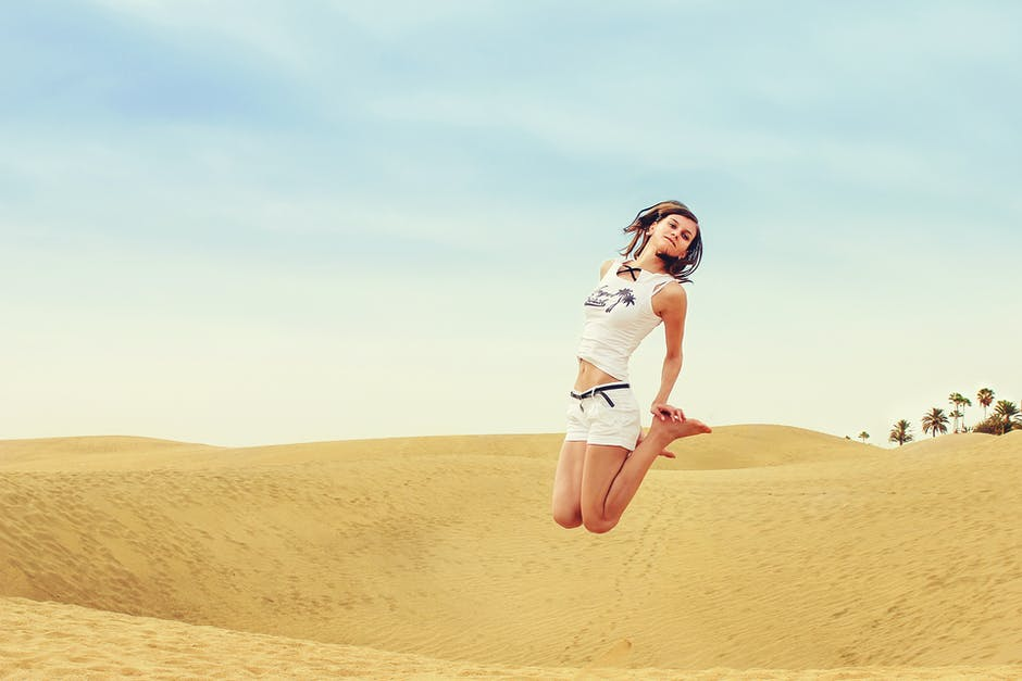 Full length of a woman standing in a desert free stock photo - Standing canarias ...