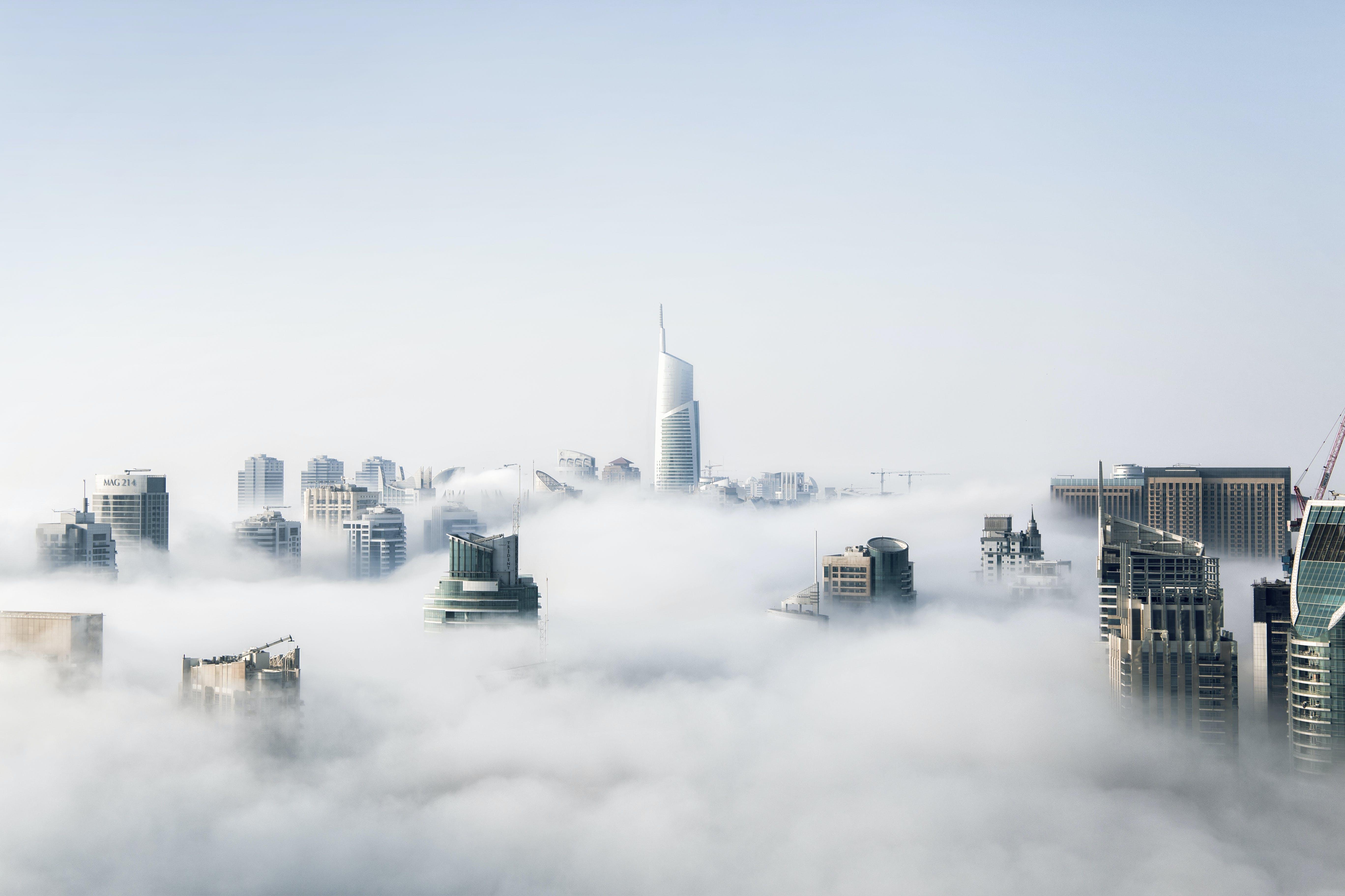 Photos gratuites de architecture, bâtiments, brouillard, brume