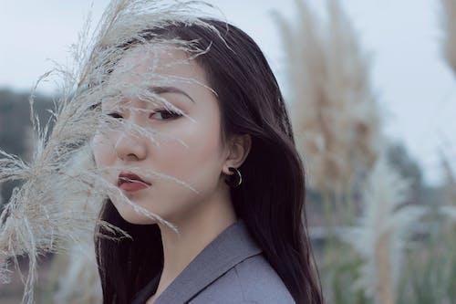 Gratis lagerfoto af Asiatisk pige, grå dragt
