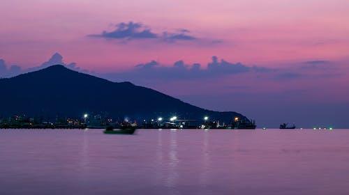 Imagine de stoc gratuită din cer aprins, expunere lungă, peisaj marin, violet apus de soare