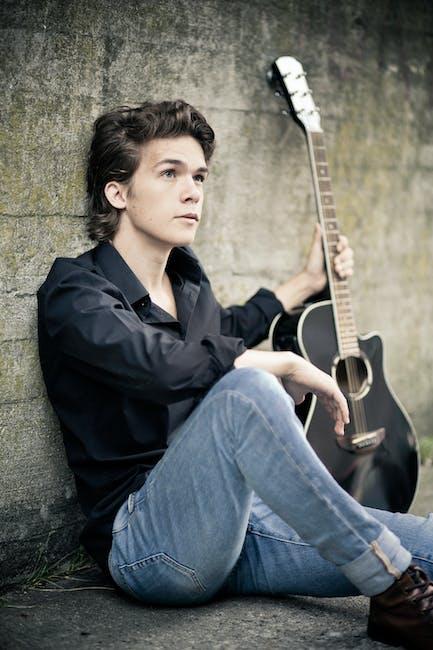 Acoustic guitar adult boy cool