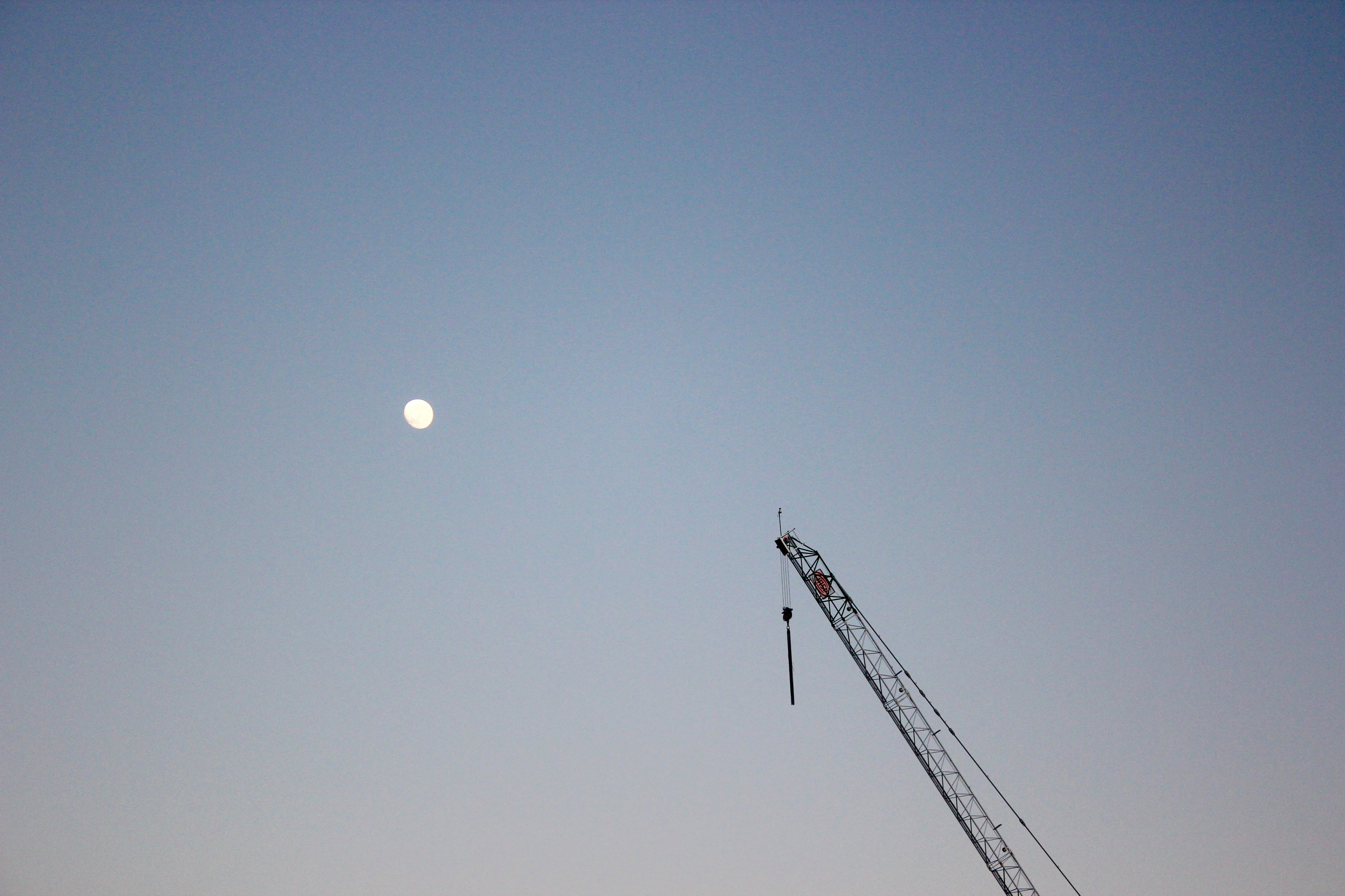 Free stock photo of crane, desktop wallpaper, full moon, minimalism