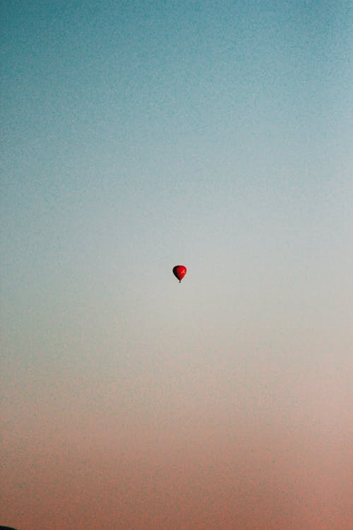 Red Hot Air Balloon on Sky