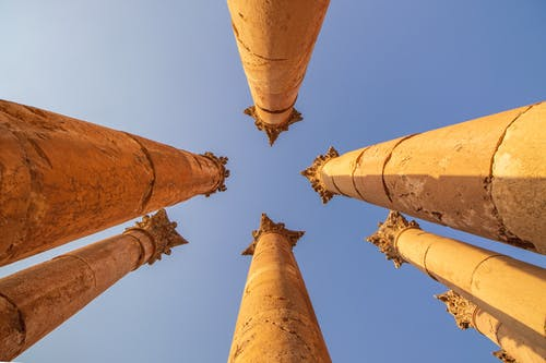 Columns Under Blue Skies
