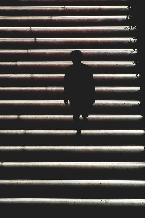 Silhouette Photo of Person on Stairs