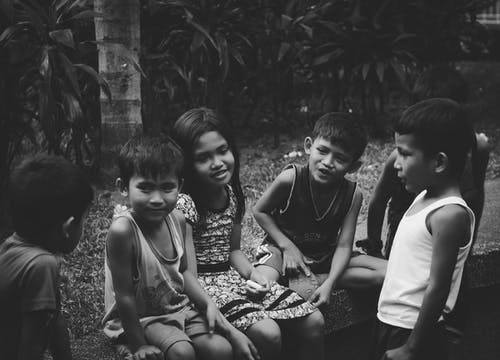 Grayscale Photography of Group of Children